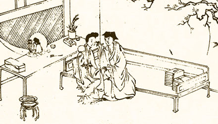 luohan bed, late ming woodcut detail